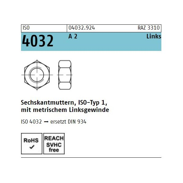 ISO 4032 A 2 -70 -LH
