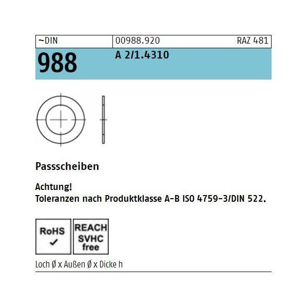 DIN 988 1.4301  Tol. ISO 4759-3/A-B