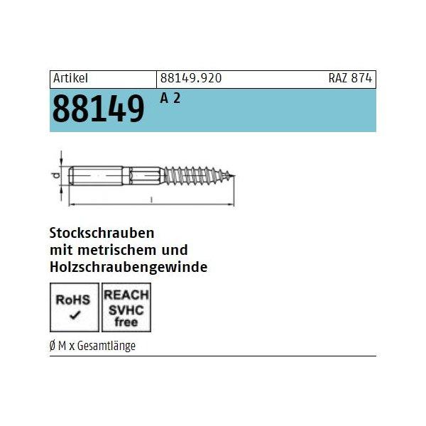 ART 88149 Stockschrauben A 2 Typ 23E