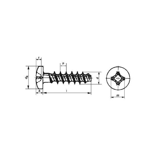 Art. 9091 - TP Rundkopf für Kunststoffe A2